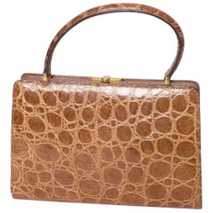 Vintage Tan Crocodile Handbag