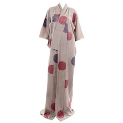 Vintage Tan Kimono With Purple and Red Lamé Circles Dots & Pink Lining