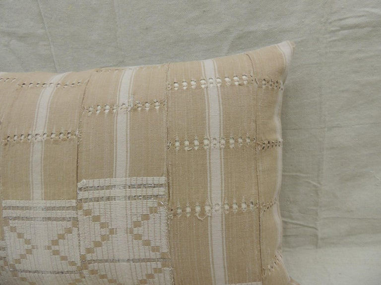 Tribal Vintage Tan and White Woven Ewe Stripweaves African Bolster Decorative Pillow