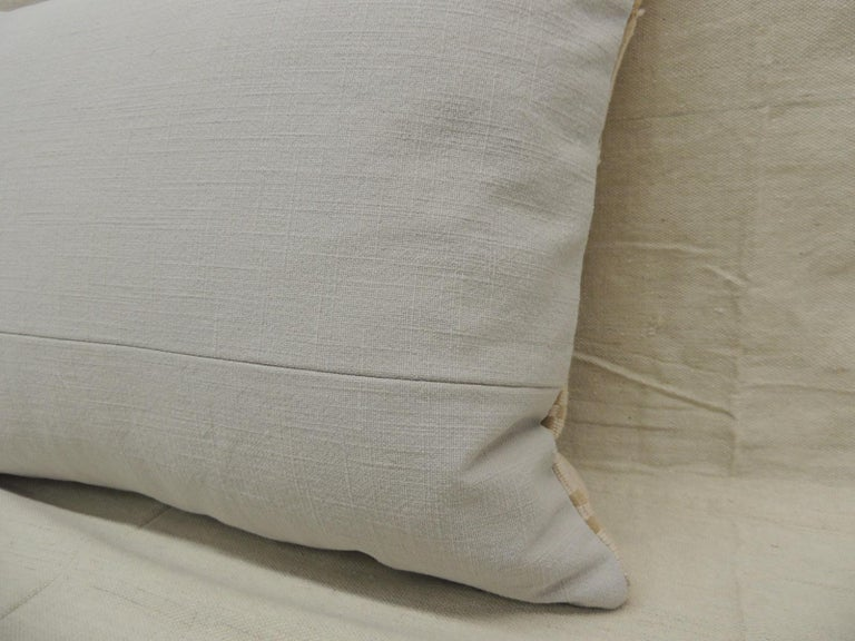 Late 20th Century Vintage Tan and White Woven Ewe Stripweaves African Bolster Decorative Pillow