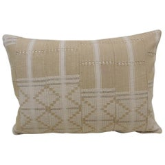 Vintage Tan & White Woven Ewe Stripweaves African Bolster Decorative Pillow