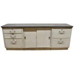 Vintage Tanker Steel Metal Grey Industrial Office Credenza Cabinet Sideboard