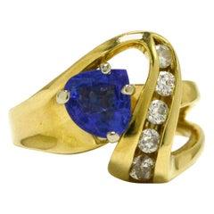 Vintage Tanzanite and Diamond Cocktail Ring Triangle Gemstone 14 Karat Gold