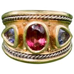 Vintage Tanzanite and Pink Tourmaline 14 Karat Gold Ring - Size 9