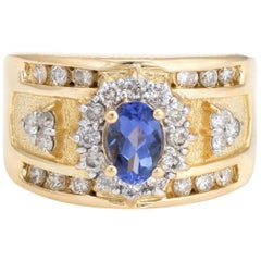 Vintage Tanzanite Diamond Ring 18 Karat Yellow Gold Cigar Band Estate Jewelry