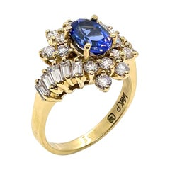 Vintage Tanzanite Ring with Diamonds Set in 14k Gold, Circa 1985