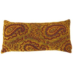 Vintage Tapestry Pillow with Large Paisley Designs, Fabric Front & Linen Backing