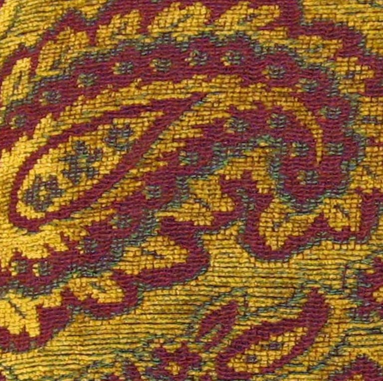 Mid-20th Century Vintage Decorative Tapestry Pillow, with Large Paisley Designs For Sale