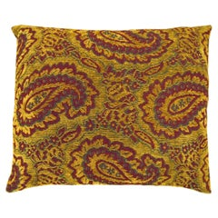 Vintage Tapestry Pillow with Large Paisley Designs