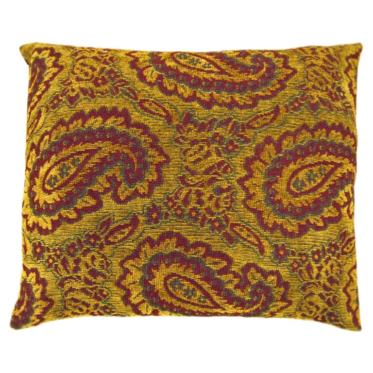 Vintage Decorative Tapestry Pillow, with Large Paisley Designs For Sale