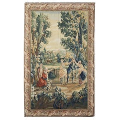 Vintage Tapestry Rug French Style Carpet Dancing Scene Handmade Tapestry
