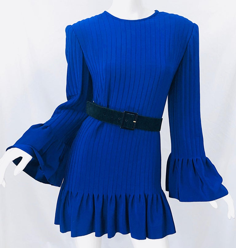 Vintage Tarquin Ebker Royal Blue 1980s Silk Pleated 80s Mini Dress Tunic Shirt For Sale 6