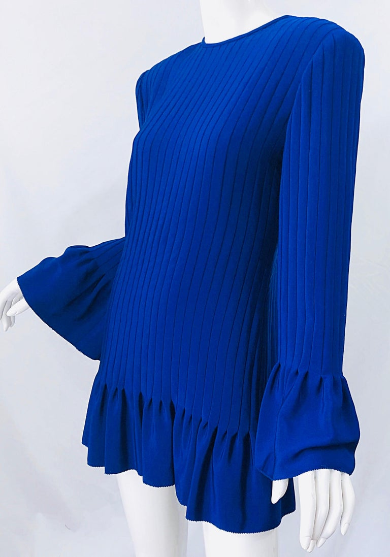 Vintage Tarquin Ebker Royal Blue 1980s Silk Pleated 80s Mini Dress Tunic Shirt For Sale 7