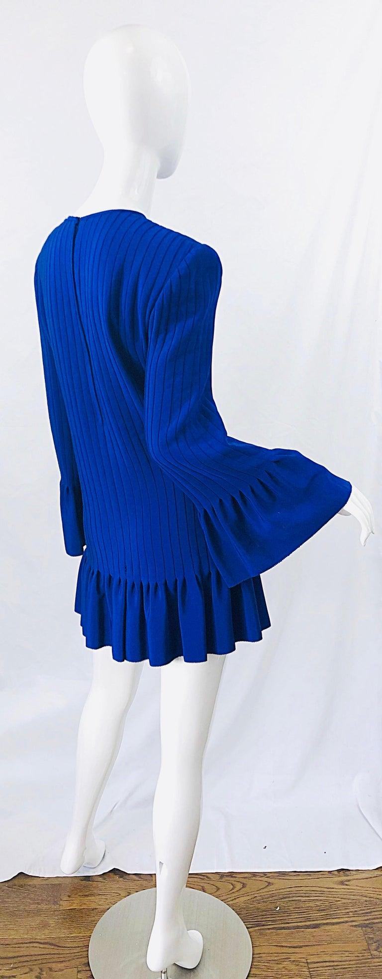 Vintage Tarquin Ebker Royal Blue 1980s Silk Pleated 80s Mini Dress Tunic Shirt For Sale 8