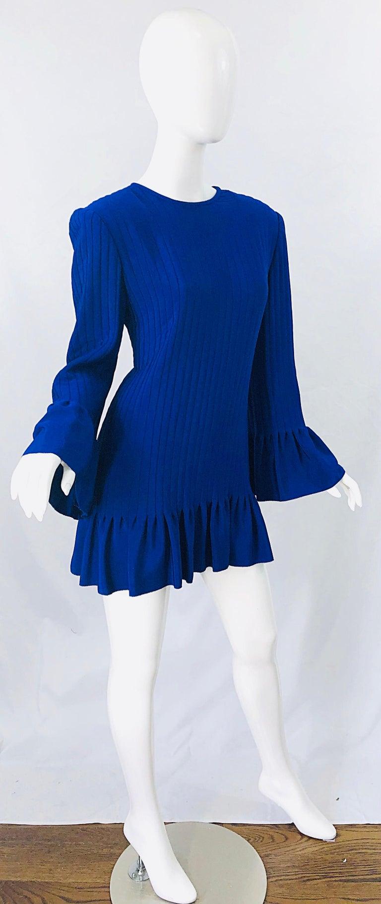 Vintage Tarquin Ebker Royal Blue 1980s Silk Pleated 80s Mini Dress Tunic Shirt For Sale 9
