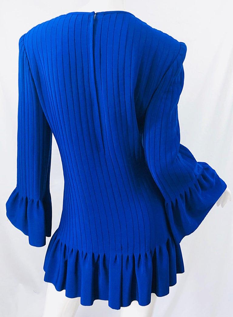 Vintage Tarquin Ebker Royal Blue 1980s Silk Pleated 80s Mini Dress Tunic Shirt For Sale 10