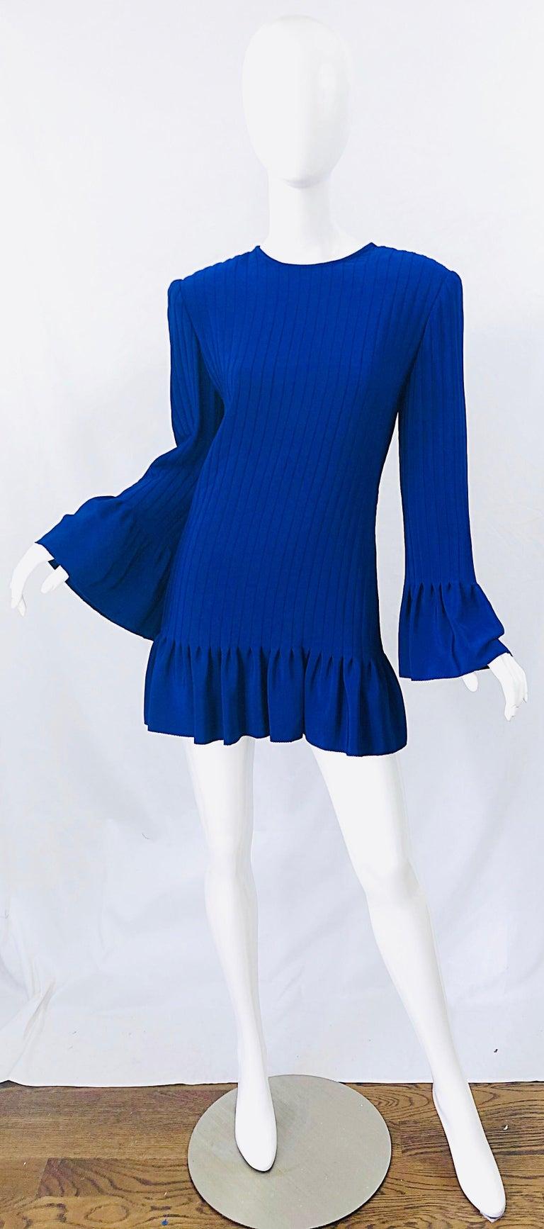 Vintage Tarquin Ebker Royal Blue 1980s Silk Pleated 80s Mini Dress Tunic Shirt For Sale 11