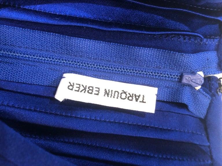 Vintage Tarquin Ebker Royal Blue 1980s Silk Pleated 80s Mini Dress Tunic Shirt For Sale 12