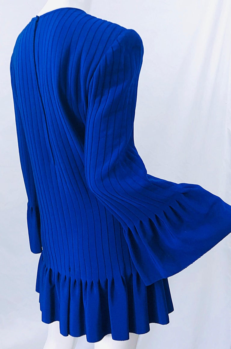 Vintage Tarquin Ebker Royal Blue 1980s Silk Pleated 80s Mini Dress Tunic Shirt In Excellent Condition For Sale In Chicago, IL
