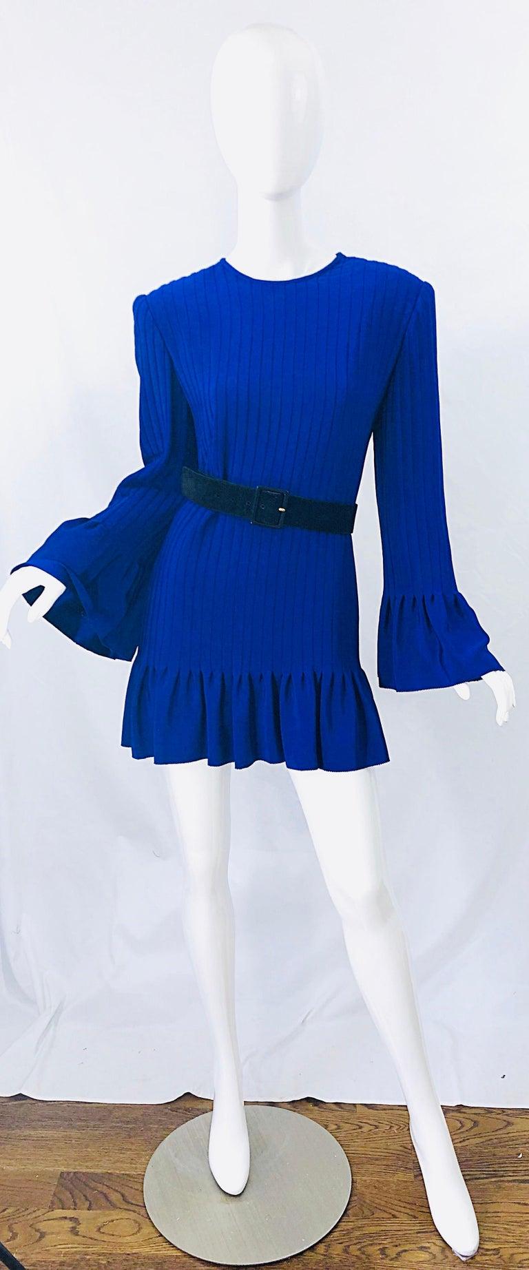 Women's Vintage Tarquin Ebker Royal Blue 1980s Silk Pleated 80s Mini Dress Tunic Shirt For Sale