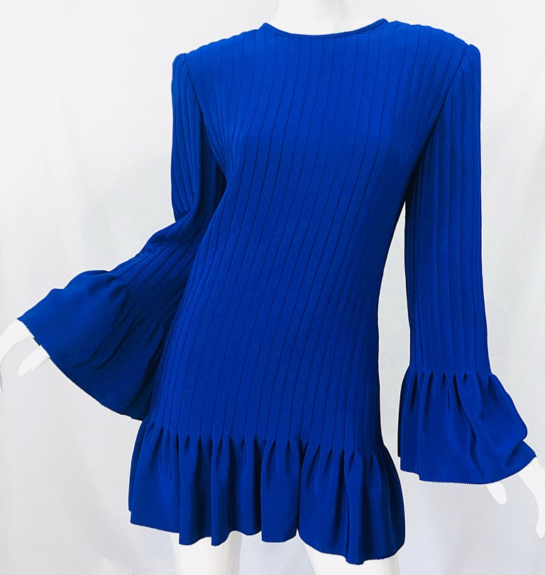 Vintage Tarquin Ebker Royal Blue 1980s Silk Pleated 80s Mini Dress Tunic Shirt For Sale 1