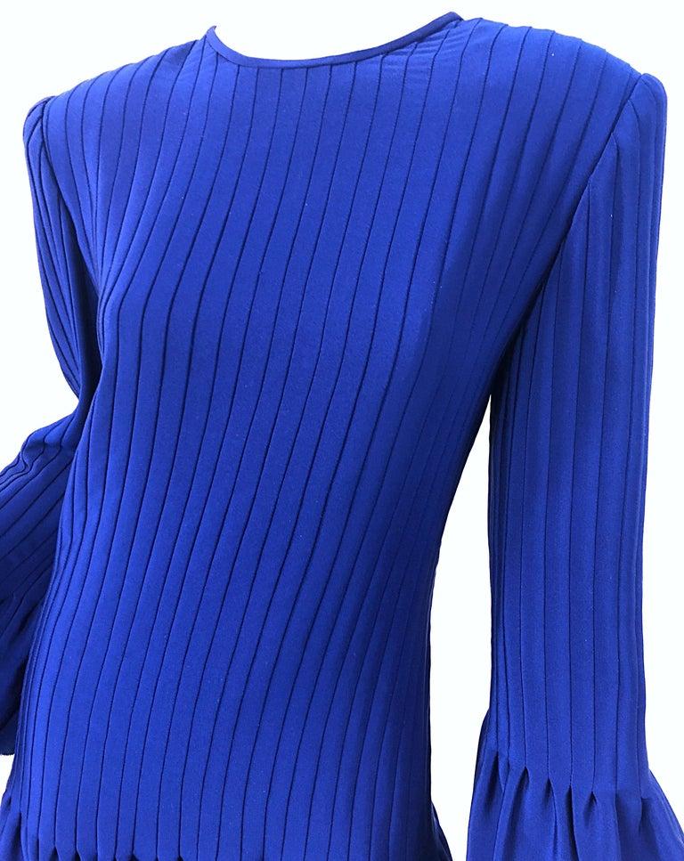 Vintage Tarquin Ebker Royal Blue 1980s Silk Pleated 80s Mini Dress Tunic Shirt For Sale 2