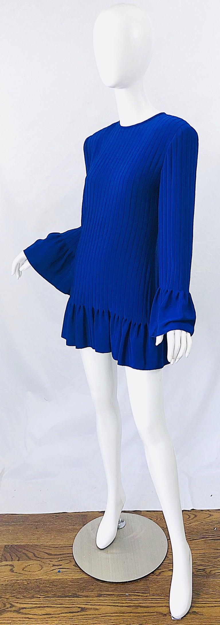 Vintage Tarquin Ebker Royal Blue 1980s Silk Pleated 80s Mini Dress Tunic Shirt For Sale 3