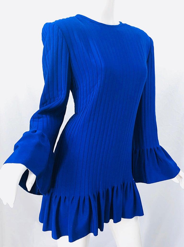 Vintage Tarquin Ebker Royal Blue 1980s Silk Pleated 80s Mini Dress Tunic Shirt For Sale 4