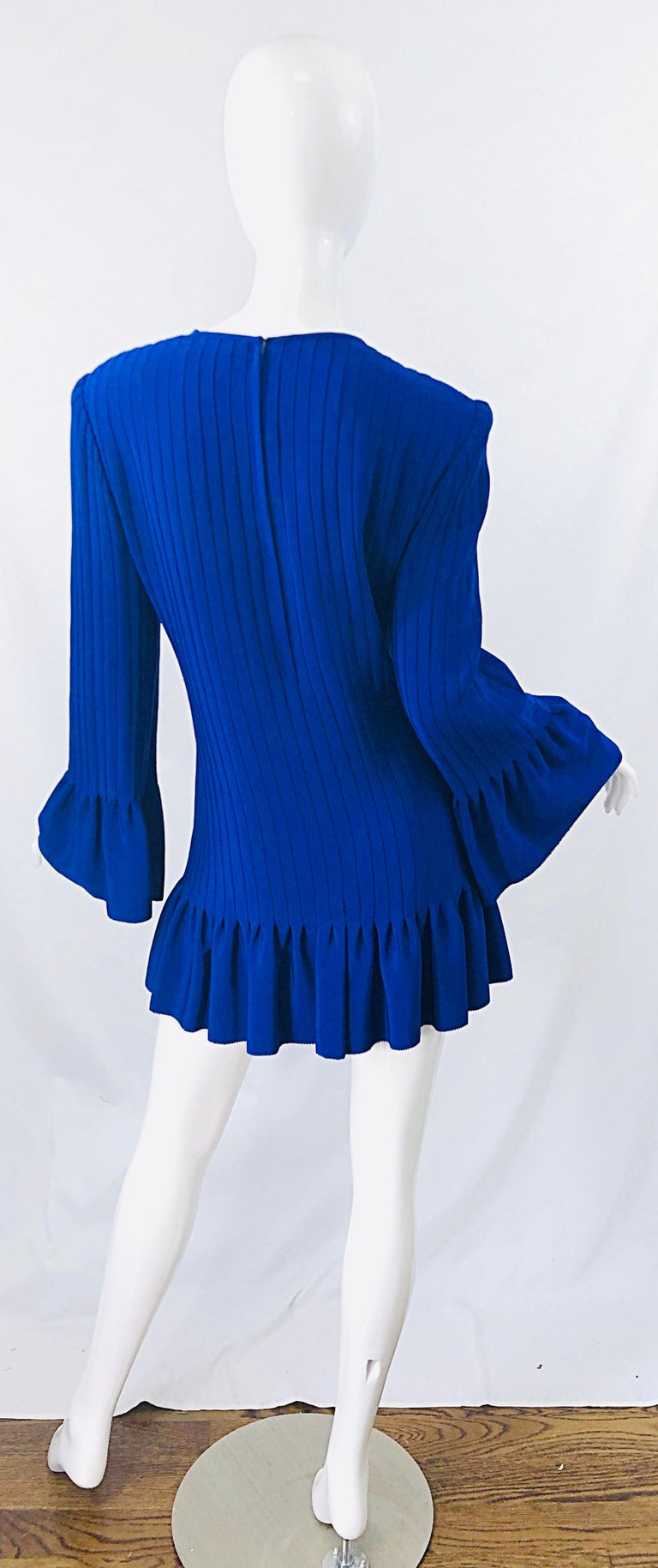 Vintage Tarquin Ebker Royal Blue 1980s Silk Pleated 80s Mini Dress Tunic Shirt For Sale 5