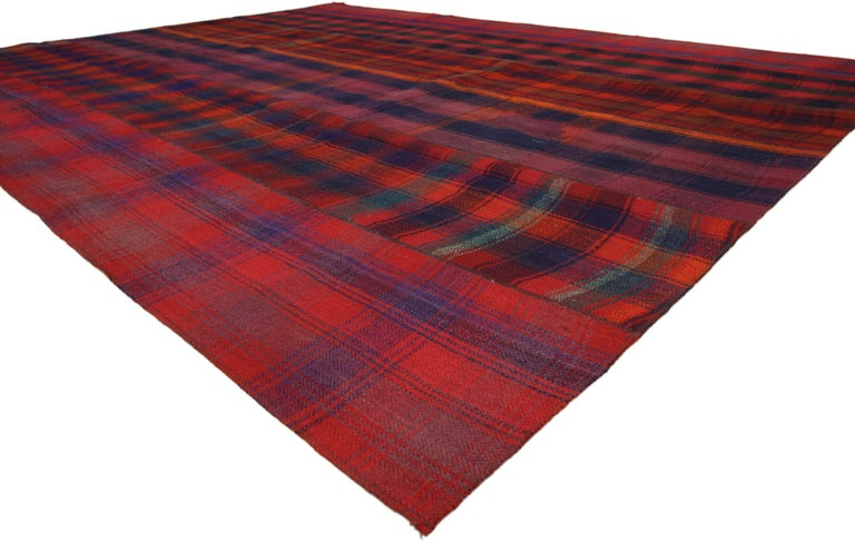 Vintage Plaid Kilim Area Rug With Luxury Lodge Style And Timeless Tartan Charm For Sale At 1stdibs