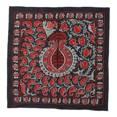 Vintage Tashkent Embroidered Cotton and Silk Wall Hanging