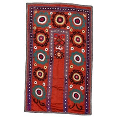 Tashkent Suzani Textile. Embroidered Cotton & Silk Bed Cover, Wall Hanging