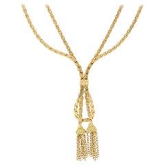 Vintage Tassel Drop Necklace Set in 18 Karat Yellow Gold