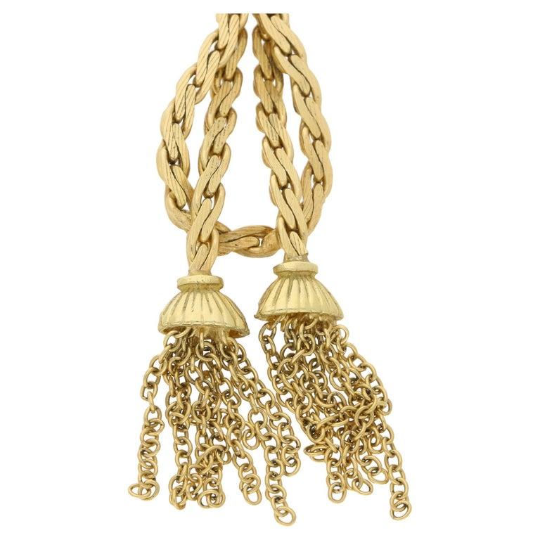 Women's or Men's Vintage Tassel Necklace in 18 Karat Gold For Sale