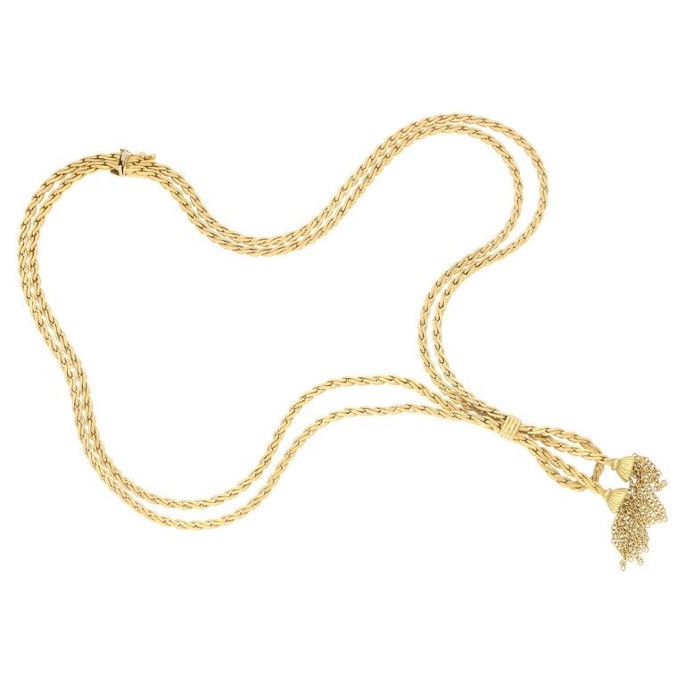Vintage Tassel Necklace in 18 Karat Gold For Sale