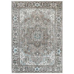Vintage Taupe Persian Heriz Clean Hand Knotted Oriental Rug