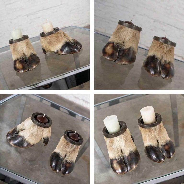 Vintage Taxidermy Caribou Hooves Bronze Ash Tray Vide-Poche Candleholder For Sale 6