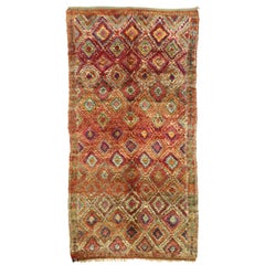 Vintage Taznakht Moroccan Rug with Diamond Pattern and Mid-Century Modern Style