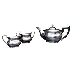 Vintage Tea Set, English, Silver Plate, Teapot, Dish, Pouring Jug, Art Deco