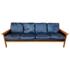 Vintage Teak and Leather 4-Seat Sofa by Knut Saeter for Vatne Mobler circa 1960s