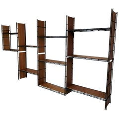 Vintage Teak and Metal Multistrux Iron Modular Shelving Unit or Library Shelves