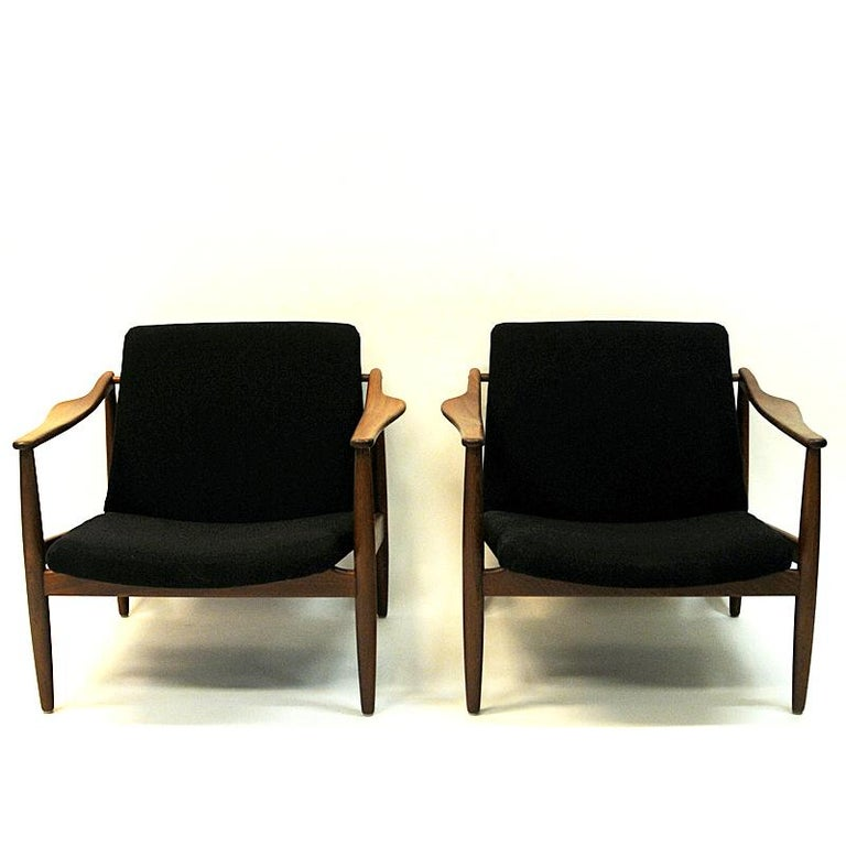 Woven Vintage Teak Armchair Pair by Hartmut Lohmeyer 1950s, Germany For Sale