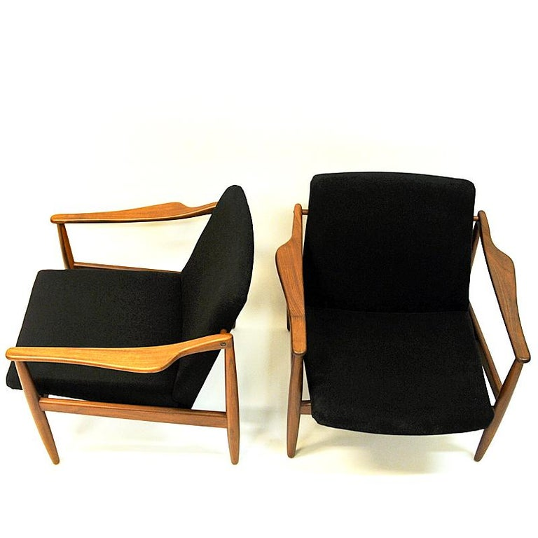 Vintage Teak Armchair Pair by Hartmut Lohmeyer 1950s, Germany In Good Condition For Sale In Stockholm, SE