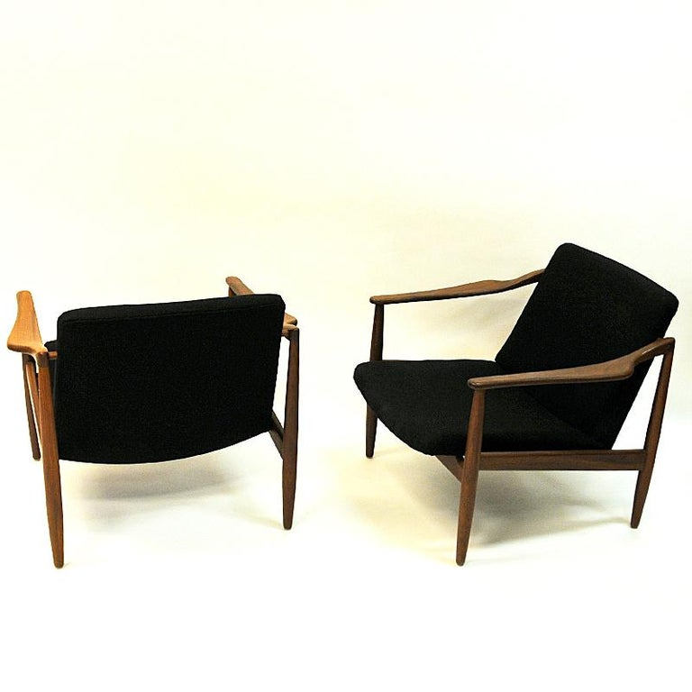 Mid-20th Century Vintage Teak Armchair Pair by Hartmut Lohmeyer 1950s, Germany For Sale