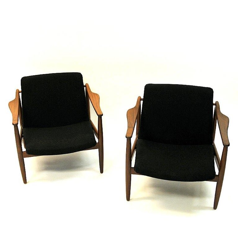 Wool Vintage Teak Armchair Pair by Hartmut Lohmeyer 1950s, Germany For Sale