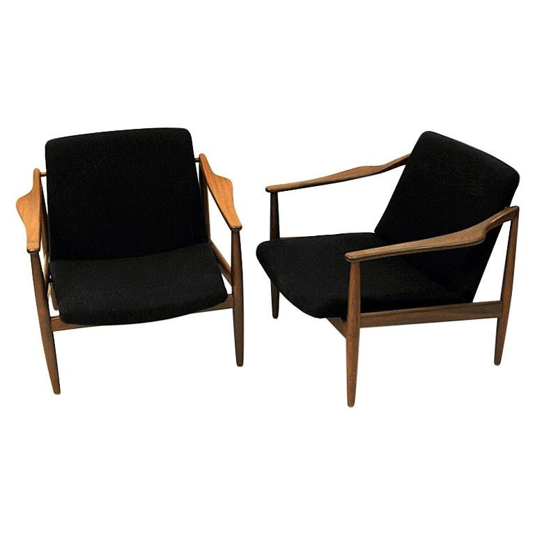 Vintage Teak Armchair Pair by Hartmut Lohmeyer 1950s, Germany For Sale