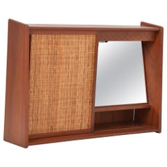 Vintage Teak Bathroom Cabinet with Sliding Door and Mirror, Denmark, 1960s