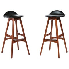 Vintage Teak & Black Leather Scandinavian Modern Bar Stools by Erik Buch, 1960s
