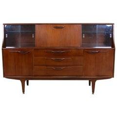 Vintage Teak Cocktail Sideboard Glazed Credenza Cabinet