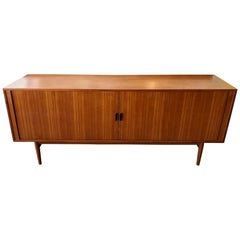 Vintage Teak Credenza with Sliding Tambour Doors by Arne Vodder for Sibast